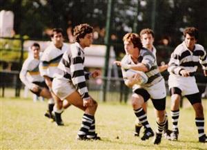 Righentini, Marcelo - Rugby - El Colo Righentini pasa al ataque - Club Atlético de San Isidro - 1992/May/11