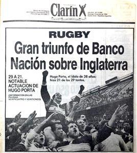 Gran triunfo de Banco Nacion sobre Inglaterra - Memorabilia -  - Club Atlético Banco de la Nación Argentina -