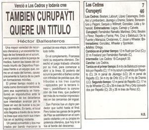 También Curupayti quiere un titulo (vs Los Cedros) - Memorabilia -  - Curupaytí Club de Rugby - Los Cedros